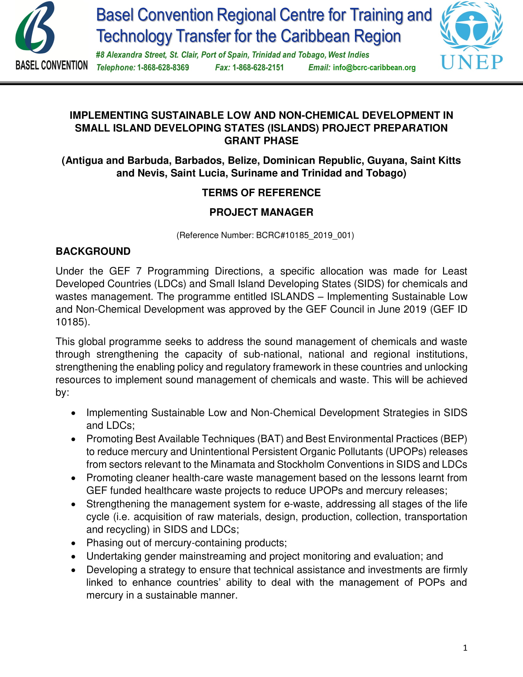 Basel Convention: Project Manager - OECS